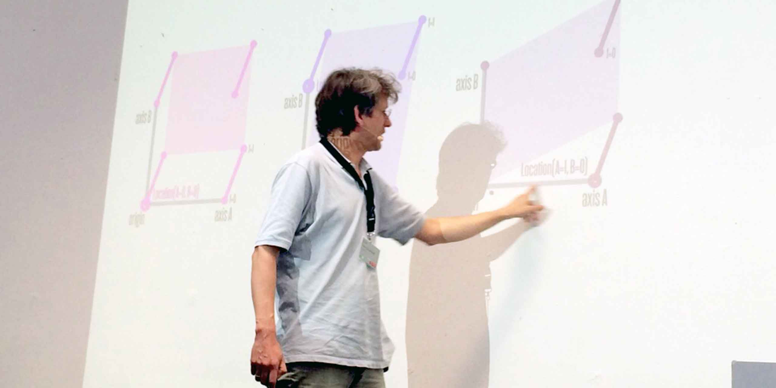 Erik van Blokland spoke about pushing the boundaries for experimental and non-linear typographic designspaces