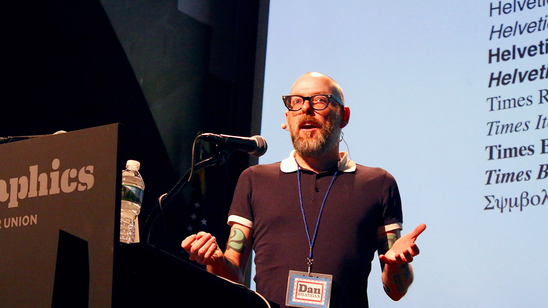 Dan Rhatigan speaking at Typographics NYC 2016. Photo © 2016 Henrique Nardi.