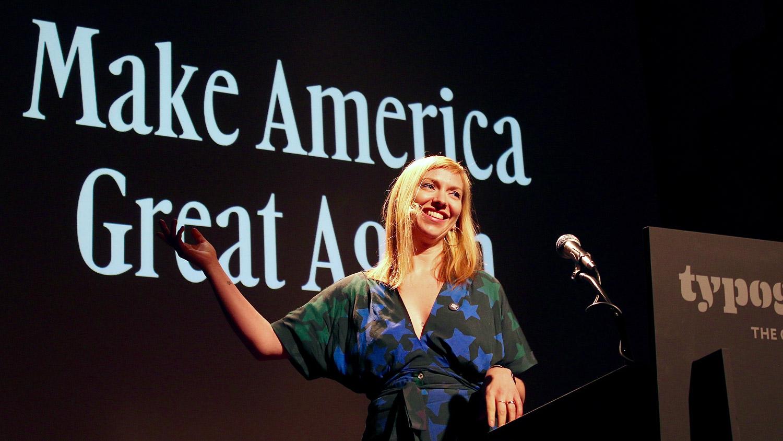 Elizabeth Carey Smith speaking at Typographics NYC 2016. Photo © 2016 Henrique Nardi.