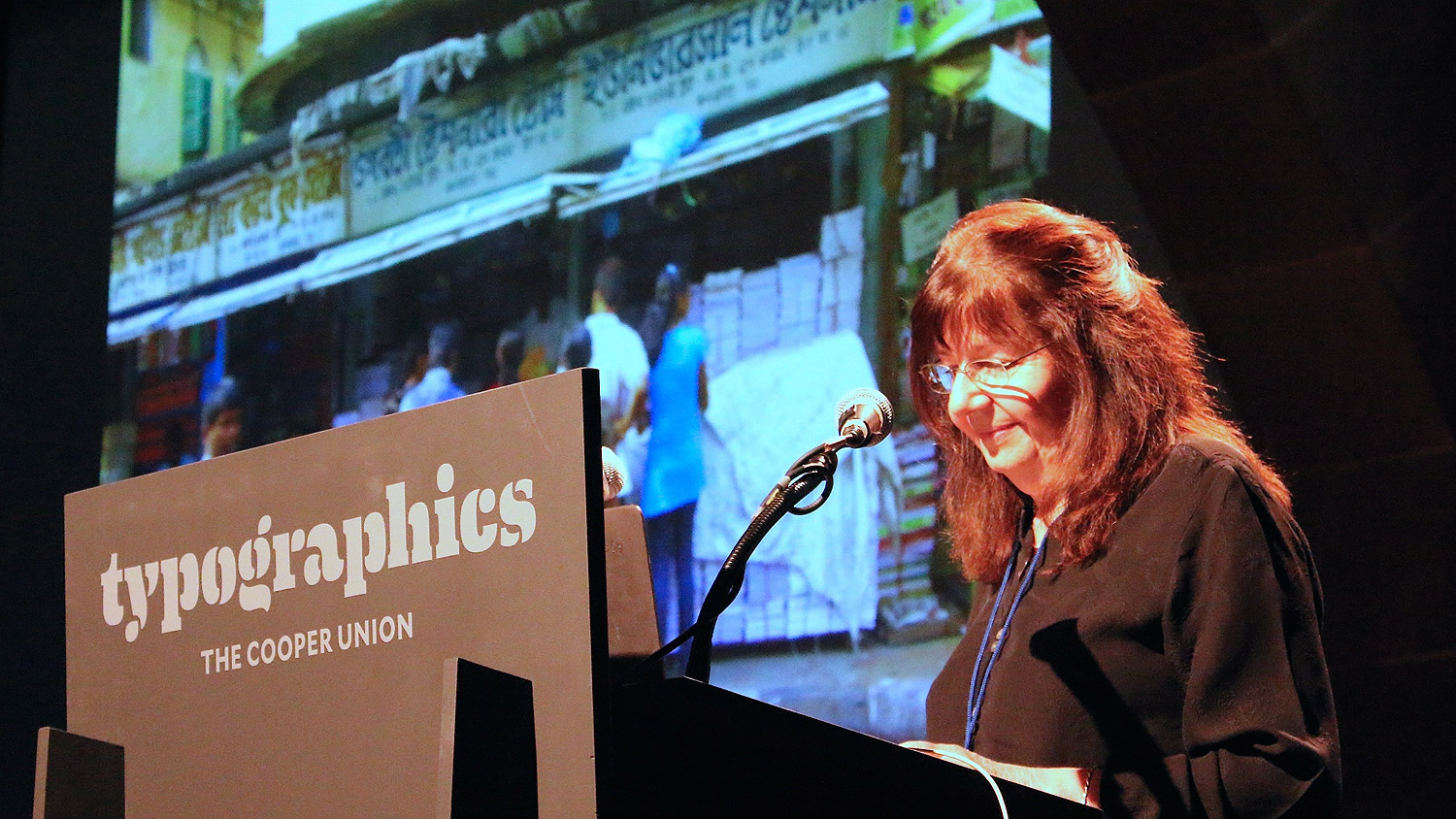Dr. Fiona Ross speaking at Typographics NYC 2016. Photo © 2016 Henrique Nardi.