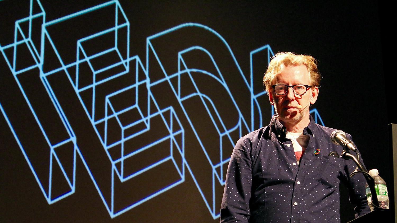 Jakob Trollbäck speaking at Typographics NYC 2016. Photo © 2016 Henrique Nardi.