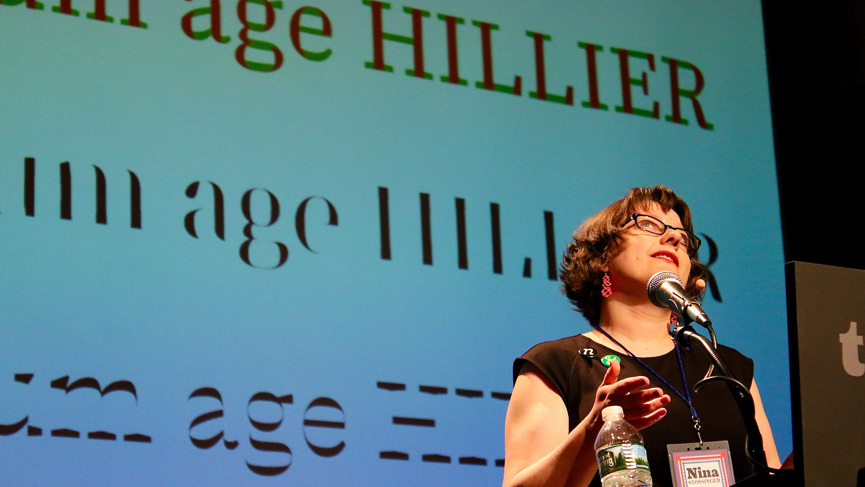 Nina Stössinger speaking at Typographics NYC 2016. Photo © 2016 Henrique Nardi.