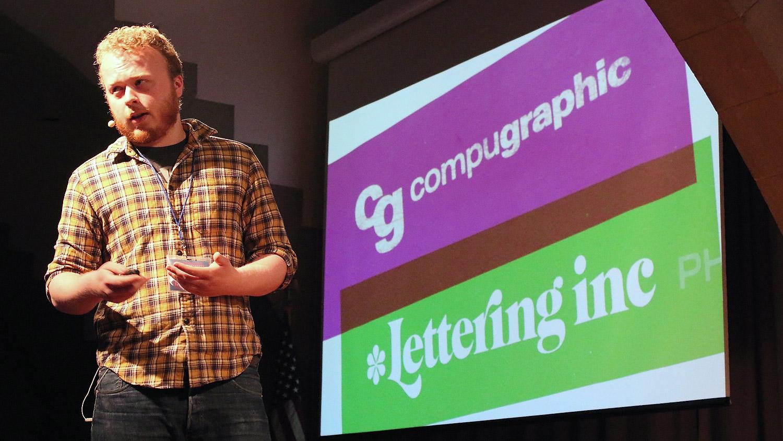 Riley Cran speaking at Typographics NYC 2016. Photo © 2016 Henrique Nardi.