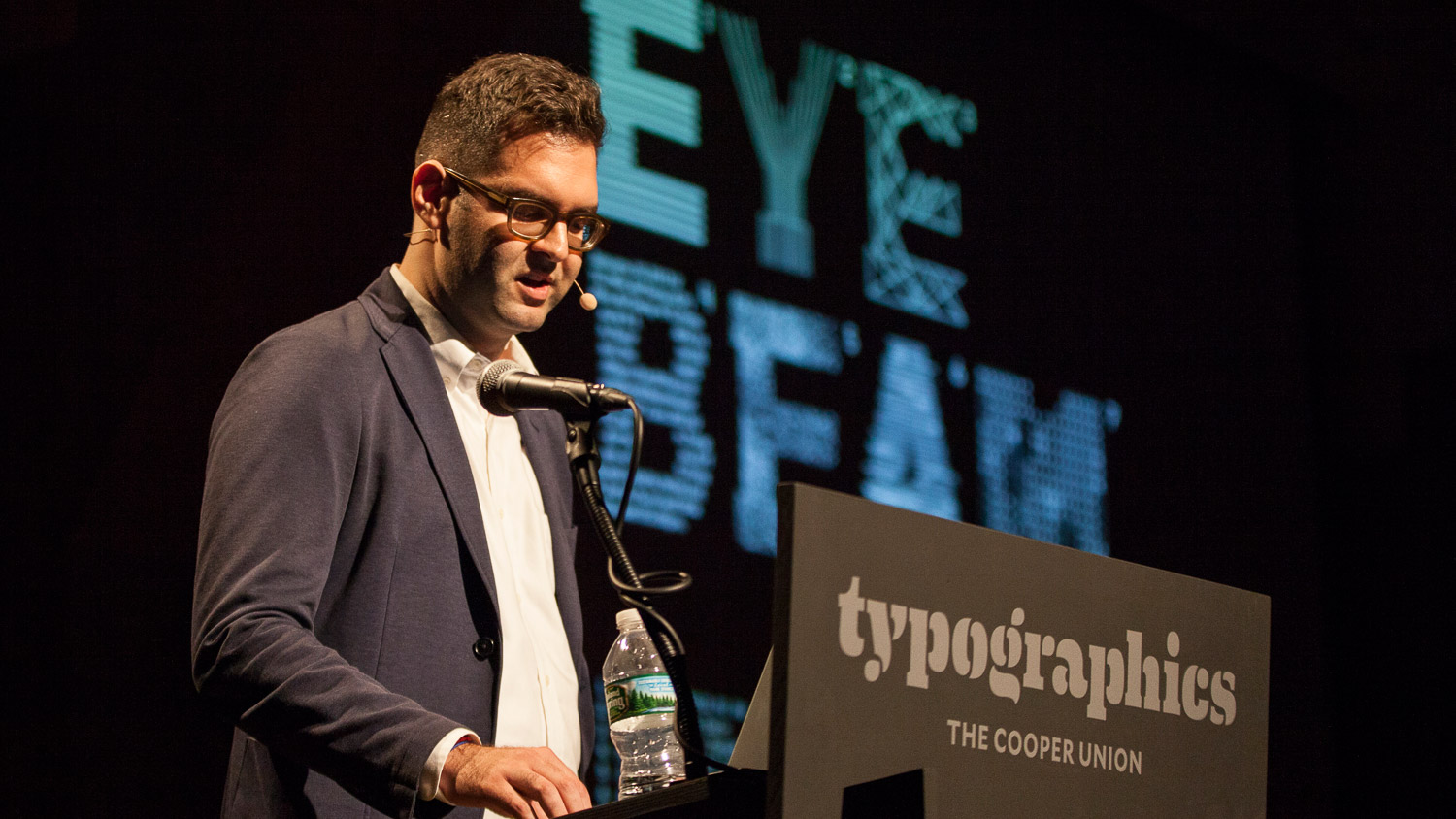 Rob Giampietro speaking at Typographics NYC 2016. Courtesy of The Cooper Union / Photo by Marget Long.