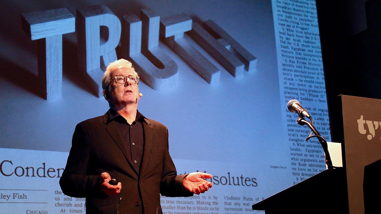 Stephen Doyle speaking at Typographics NYC 2016. Photo © 2016 Henrique Nardi.