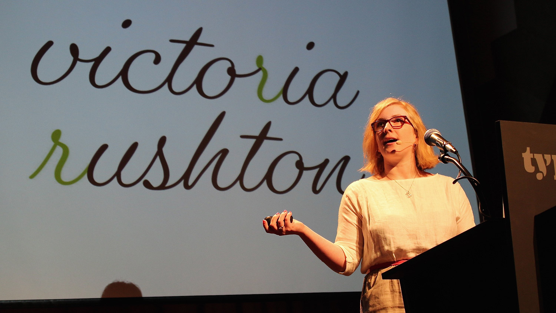 Victoria Rushton speaking at Typographics NYC 2016. Photo © 2016 Henrique Nardi.